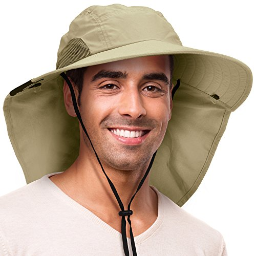 Sun Hat for Men with UV Protection Wide Brim Safari Hike Cap w/Neck Flap Cover