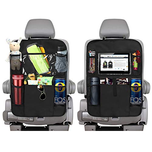 Backseat Car Organizer Kick Mats, KNGUVTH Car Seat Back Protectors with Clear 10 Tablet Holder + 5 Storage Pockets Back seat Organizer for Kids Toy Bottle Drink Vehicles Travel Accessories (2 Pack)