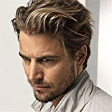 Swiking Men Short Wigs Brown Mix Blonde Wig for Male Guy Layered Halloween Cosplay Party Hair Costume Full Wig for Adults
