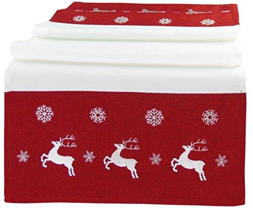 Laura S Tischdecken Gesticktes Motiv, Elch und Schneeflocken. Schlichtes Design in Rot mit Ecru oder Anthrazit mit Creme. Ausgewählte Größe jetzt (Rot, ca. 40cm x 140cm)