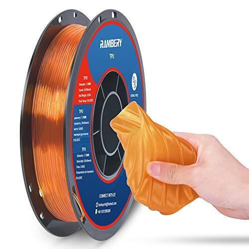 TPU Filament 1.75mm Flexible TPU 3D Printer Filament Dimensional Accuracy +/- 0.03 mm, 0.5kg Spool, 1.75 mm (Orange)