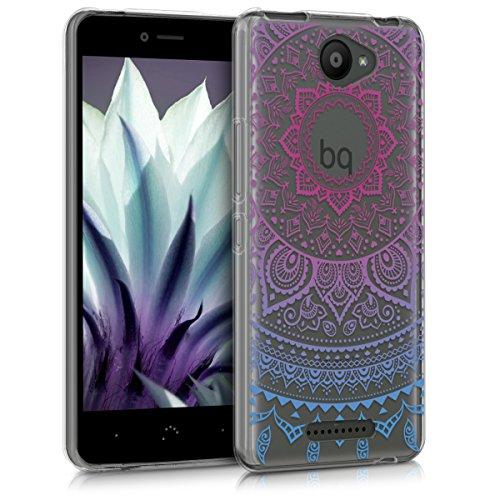 kwmobile Funda para bq Aquaris U/U Lite - Carcasa de TPU para móvil y diseño de Sol hindú en Azul/Rosa Fucsia/Transparente