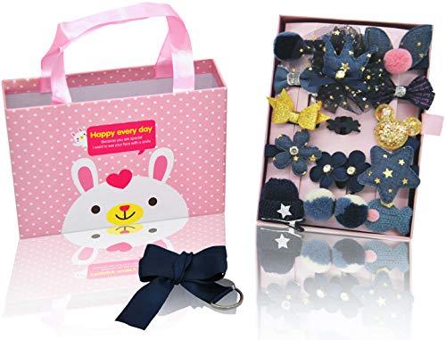 KEY Supreme - Juego de accesorios para el pelo para bebé (18 unidades, con caja de regalo), color azul