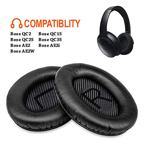 Bose Quiet Comfort 35 Replacement Earpads FEYCH 2 Pieces Noise Isolation Memory Foam Ear Cushions Cover for Bose QC35, QC25, QC15, QC2/ Ae2/ Ae2i/ Ae2W Sound Link/Sound True (Black)