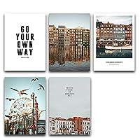 BGGGTD ポスター 海の街のレトロな建築風景ポスターウォールアートキャンバスプリント建物の風景写真絵画北欧の装飾-50x70cmx5フレームなし