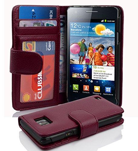 Cadorabo Hülle für Samsung Galaxy S2 / S2 Plus - Hülle in Bordeaux LILA – Handyhülle mit 3 Kartenfächern - Case Cover Schutzhülle Etui Tasche Book Klapp Style