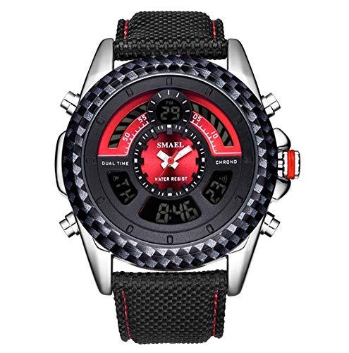 XHH Reloj Deportivo de Moda para Hombre Pantalla multifunción 30 m Diario Impermeable Correa de Cuero/Nailon Reloj electrónico Digital, Verde (Accesorios de Regalo de Fiesta)