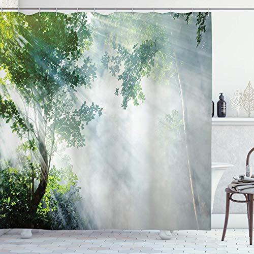 UKSILYHEART Shower Curtain 68x72 Inches Rainforest Bath Curtain, Sunbeam Between Shadows of Trees Idyllic Scenery of Solitude in Jungle Theme, Polyester Curtain Green Bluegrey Bathroom Decor