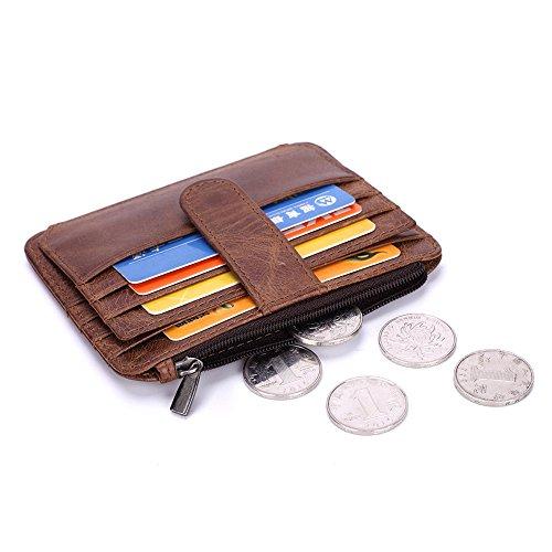 Gendi Portafoglio porta carte di credito in vera pelle - 6 slot per schede e 1 tasca per monete, design sottile di mSure