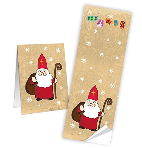 50 Aufkleber Sticker HEILIGER NIKOLAUS rot weiß natur Weihnachtsmann Geschenkaufkleber Weihnachten Banderole 5 x 14,8 cm Papiertüten verschließen Verpackung Geschenke Weihnachtsaufkleber