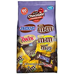 Contains one (1) 33.9-ounce, 60-piece bag of Fun Size M&M'S Milk Chocolate Candy, Peanut M&M'S Candy, TWIX Candy and SNICKERS Chocolate Bars Variety mix candy is great for office parties, candy dishes, packed lunches and more Enjoy delicious variety ...