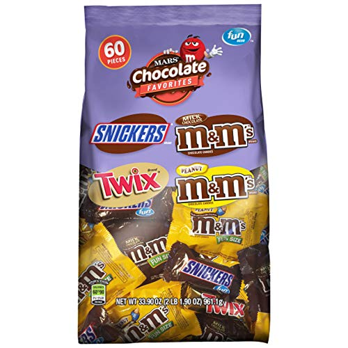 SNICKERS, M&MS & TWIX Fun Size Chocolate Candy Variety Mix, 33.9-Ounce 60 Piece Bag
