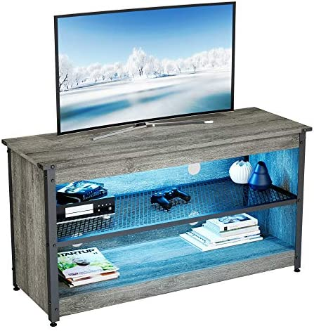 BESTIER Gaming TV Stand 44 Industrial TV Stand for TV up to 50 with RGB Lights Entertainment product image