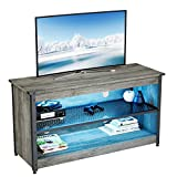 BESTIER Gaming TV Stand 44' Industrial TV Stand for TV up to 50' with RGB Lights Entertainment Center w/Open Storage Shelves Metal Mesh Flat Screen Video Gaming Media Console Table for Living Room