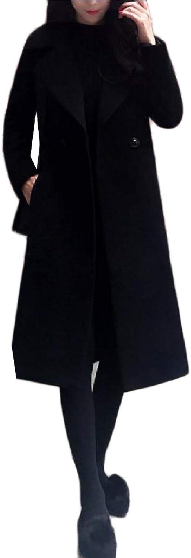 Winme Womens Fleece Curvy Classics Wool Long Trench Pea Coat Outwear