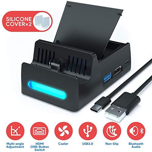 SuMile Switch Dock, Nintendo Switch Base de Carga Portátil para HDMI TV Adaptador para Nintendo Switch con interfaz USB 2.0 3.0 Type-C y ranura para tarjeta para almacenar 4 juegos