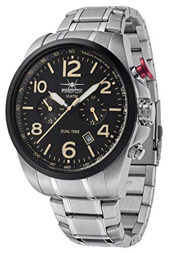 FIREFOX Horizon FFS305-102S Dual Time VD31 Herrenuhr Edelstahlarmband Faltschließe Armbanduhr 10 ATM wasserdicht zweite Zeitzone Zifferblatt schwarz