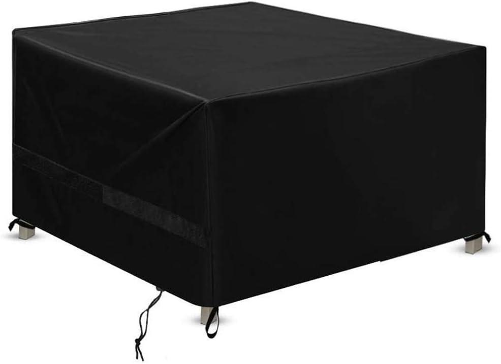 Funda para Muebles de Jardín Funda Muebles Jardin - Copertura Impermeable para Mesas Rectangular,Cubierta de Exterior Funda Protectora Muebles Mesas Sillas Sofás Exterior 420D Oxford 123*123*74 Negro