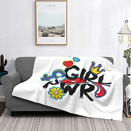 Manta Mantas de microfibra ultra suaves, Girl Power con letras en negrita y pegatinas dibujadas a mano de estilo Crown Princess, manta suave y liviana para sofá cama, sala de estar, 50 'x 60'