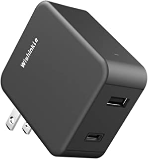 Wishinkle USB Wall Charger, Dual Ports 36W Fast USB C Charger, PD/QC3.0 Power Adapter with Foldable Portable Plug for iPho...