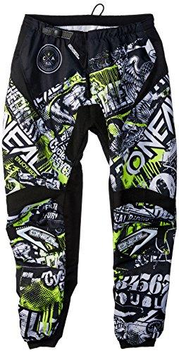 O\'NEAL | Motocross Hose | Enduro MX | Stretch-Einsätze, Vollständig gefüttert, Schutzpolster aus Gummi für zusätzlichen Schutz | Pants Element Attack | Erwachsene | Schwarz Neon Gelb | Größe 28/44
