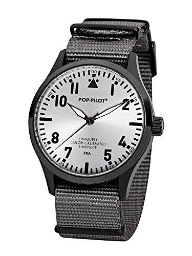 Pop Pilot Herren Analog Quarz Uhr mit Stoff Armband FRA
