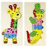 Holzpuzzle Montessori Puzzle Spielzeug 3D Puzzle Steckpuzzle Holz Krokodil Giraffe Baby Spielzeug Geschenk für Kinder Mädchen Junge ab 3 4 5 6+ Jahren