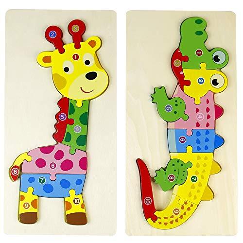 Puzzles de Madera Montessori Educativos Juguetes Animales Cocodrilo Jirafa Regalos para Niños Niñas 2 3 4 5 Años