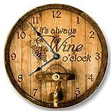 Mari57llis Its Always Wine O'Clock Wall Clock Wooden Cask Lid Printed Image Rustic Cabin Bar Home Decor Large 15' Wall Clock