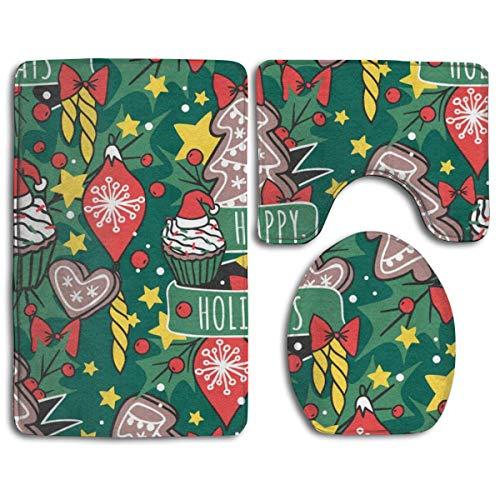 ZharkLI Happy Holidays Christmas New Yaer - Set di 3 tappetini da Bagno Antiscivolo