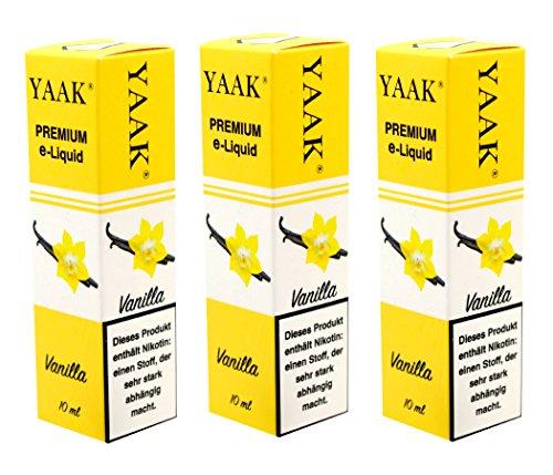 YAAK® Premium E-Liquid 3 x 10 ml Vanille ohne Nikotin / E-Zigaretten, Elektrische-Zigarette, E-Shisha / Fruchtgeschmack Vanille