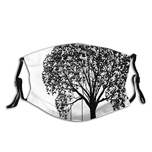 FULIYA Waschbare, wiederverwendbare Bandana, halbe Gesichts-Mundschutz, atmungsaktiv, dehnbar, 5-lagig, mit 2 Filtern, 1 Stück, eine Baum-Silhouette mit einer Schaukel