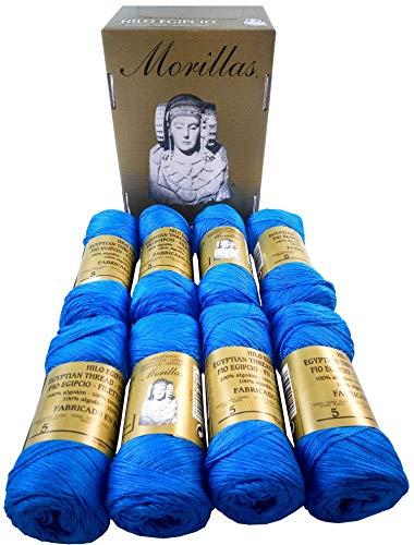 ▷ Pack de 8 Zepelines Ne 5/2 color AZUL 14 de algodón perlé 100% egipcio mercerizado para tejer...