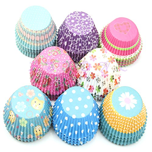 LANDUM 100 Stück Papierförmchen für Kuchen, Cupcakes, Muffins, Küche, Backen, Hochzeit, Party
