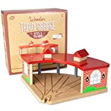 Conductor Carl Wooden Train Track Train Garage - Train Storage Garage for Wooden Train Tracks & Sets - Compatible with Most Big Brands & All Track Sets