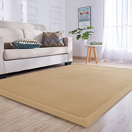 Loartee Samtmatte Teppich Matte,Kinderteppich Krabbeldecke Groß,3cm Dick Krabbelteppich,Gymnastik Teppich,für Baby,Kinderzimmer,Schlafzimmern(Khaki,150x200cm)