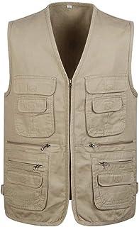 Men's Summer Men's Thin vest Cotton Multi-Pocket vest Outdoor vest (Color : Khaki, Size : 5XL)