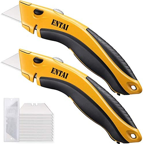 ENTAI 2 Pack Utility Knife Retractable Box Cutter for Cardboard Boxes and Cartons Zinc Alloy product image