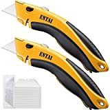 ENTAI 2-Pack Utility Knife, Retractable Box Cutter for Cardboard, Boxes and Cartons, Zinc Alloy Shell with Non-slip Rubbery Handle, Blade Storage Design, Extra 10 Blades Included