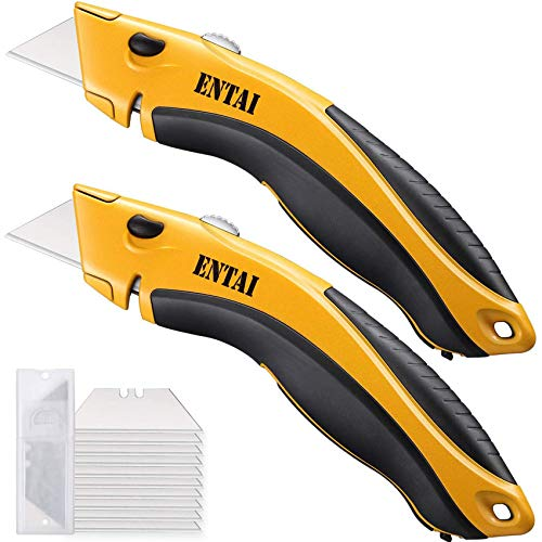 ENTAI 2-Pack Utility Knife, Retractable Box Cutter for Cardboard, Boxes and Cartons, Zinc Alloy Shell with Non-slip Rubbery Handle, Blade Storage Design, Totally 18 Blades Included