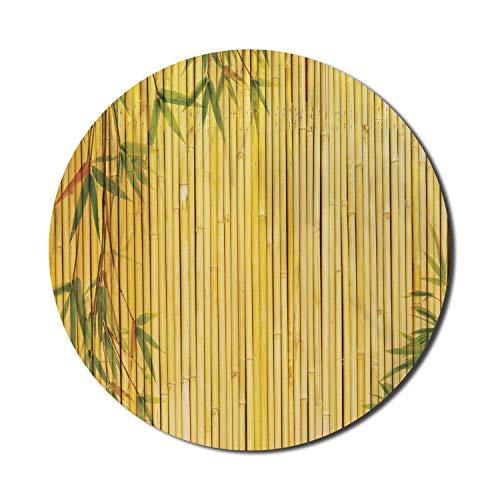 Bambus-Maus-Pad für Computer, gelb gefärbte Wald-Hintergrund-Äste exotische Pflanzen Friedliche Kunstwerke, rundes rutschfestes dickes Gummi-modernes Gaming-Mousepad, 8 \'rund, grün