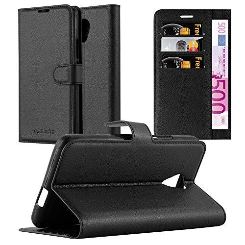 Cadorabo Hülle für Wiko Robby - Hülle in Phantom SCHWARZ – Handyhülle mit Kartenfach & Standfunktion - Case Cover Schutzhülle Etui Tasche Book Klapp Style