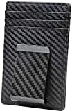 Travelambo Money Clip Front Pocket Wallet Slim Minimalist Wallet RFID Blocking (Carbon Fiber Black)