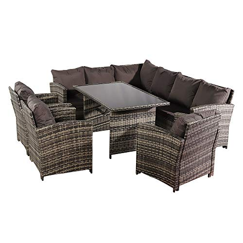 Rattan Garden Furniture Sets, 9 Seat Rattan Furniture Outdoor Sofa Dining Table Extra 3 Single Chair (UK Flame Retardant Material) Wicker Weave Garden Furniture Patio Conservatory Outdoor (SET A)