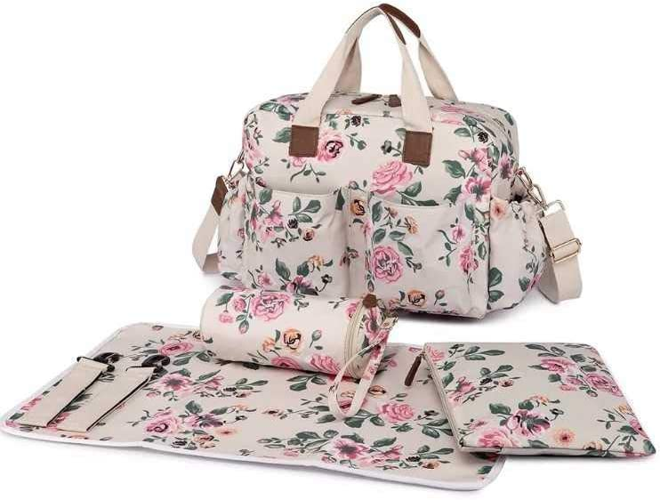 Maternity Hospital Bags Deluxe: Beige with Pink Floral Hospital Bag, Girl Contents.