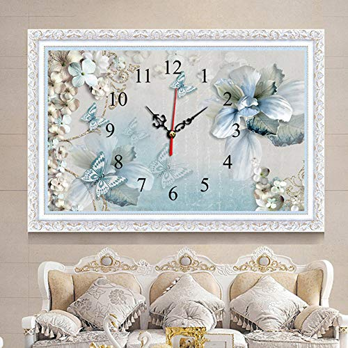EXQUILEG 5D Diamant Malerei DIY Kristall Diamant Stickerei Painting Kreuzstich Diamond Dekoration-Uhr (Schmetterling 40x60cm)