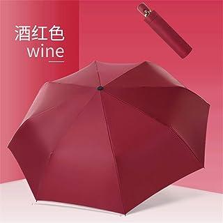 Small fresh automatic umbrella, simple solid color, original vinyl, sun umbrella, 7 color options,Wine