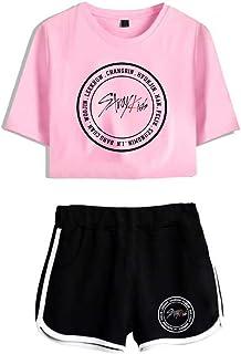 FEIRAN Stray Kids Boy Band Short Shorts de Manga Corta para Mujer y niña Top + Shhort Set B + Black Powder L