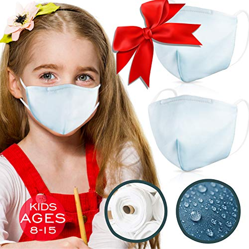 2ply Layer Cotton Mouth Masks – Pack of 2 for Kids & Teens (Ages 8-17) – Waterproof & Coated with Swiss SG Tech on USA Satin Cotton with Nose Bridge , Washable & Reusable 40x made for both Boys & Girls
