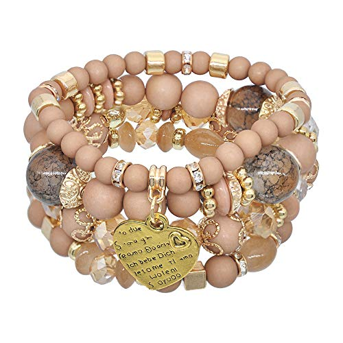 Bohemian Multilayer Kralen Armband voor Vrouwen, Stretch Crystal CZ kralen Yoga Bangles Charm Pendant Jewelry,Coffee